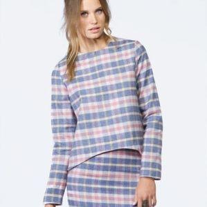 NWT Asilio Check Mate Cotton Linen Plaid Top